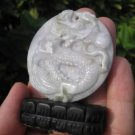 Jade dragon stone mineral  Carving pendant statue amulet A11