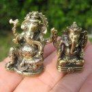 set 2 Brass Ganesh Ganesha figure mini statue amulet Thailand A5