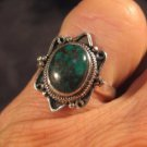 925 Silver Tibetan Turquoise crystal stone Ring Nepal jewelry art Size 6.5
