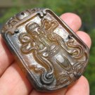 Natural agate Carnelian Onyx chinese Old man ruesi monk stone pendant amulet A30