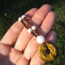 Natural Tigers tiger eye pearl stone pendant necklace Thailand jewelry art