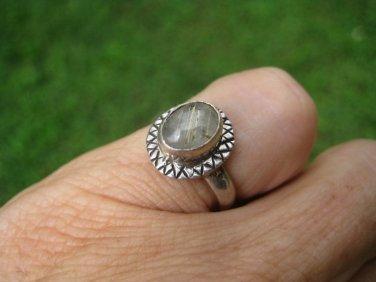 925 Silver Rutile Quartz Ring Thailand Jewelry art SZ 8.5 A18