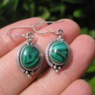 925 Silver Malachite pair Earrings Earring jewelry Nepal himalayan art A5