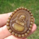 Natural Jade Happy Budddha Pendant Amulet talisman stone carving A8