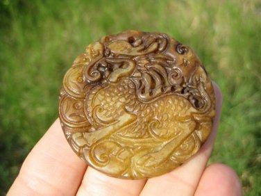 Natural agate Carnelian Onyx chinese Dragon stone pendant amulet A30