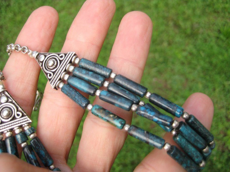 925 Silver Natural Tibetan Turquoiuse stone Necklace Jewelry art Nepal A16