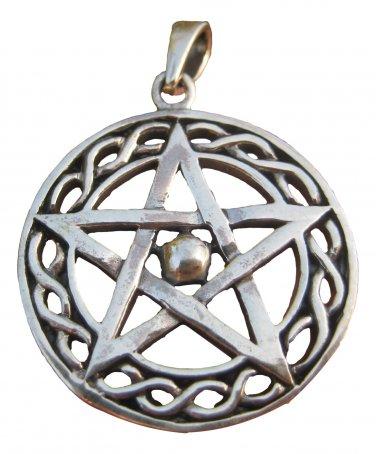 925 sterling silver wicca pentagram pendant necklace A44
