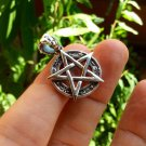 925 sterling silver wicca pentagram pendant necklace A39