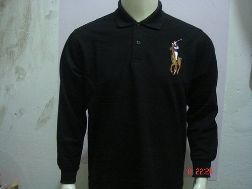 Mens Black Long Sleeve Ralph Lauren Polo shirt -T10