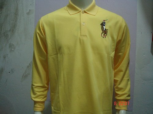 Mens Yellow Long Sleeve Ralph Lauren Polo shirt -T09