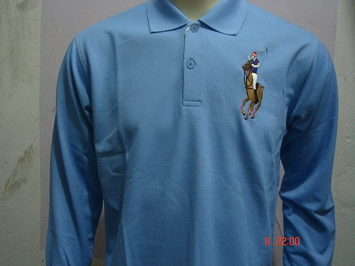 Mens Blue Long Sleeve Ralph Lauren Polo shirt -T08