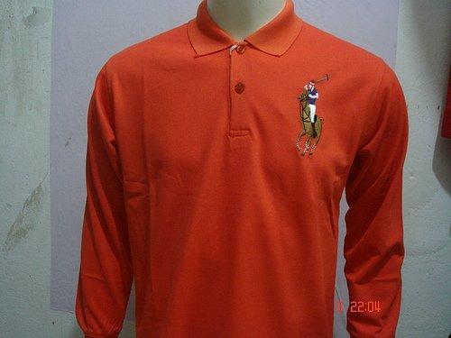 Mens Orange Long Sleeve Ralph Lauren Polo shirt -T04