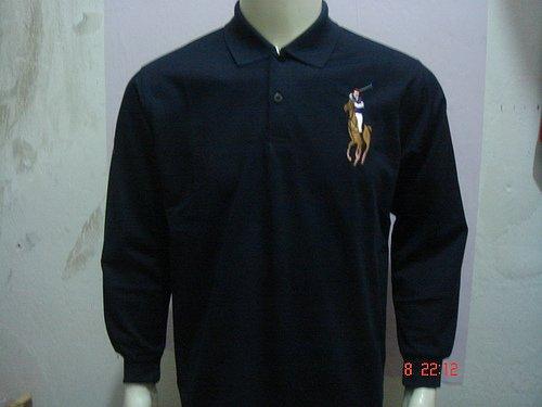 Mens Navy Blue Long Sleeve Ralph Lauren Polo shirt -T03