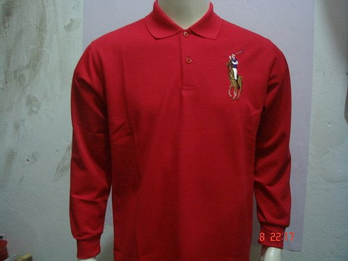 Mens Red Long Sleeve Ralph Lauren Polo shirt -T02