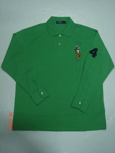 Mens Green Long Sleeve Ralph Lauren Polo shirt -T01