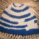 single crochet blue striped toboggan