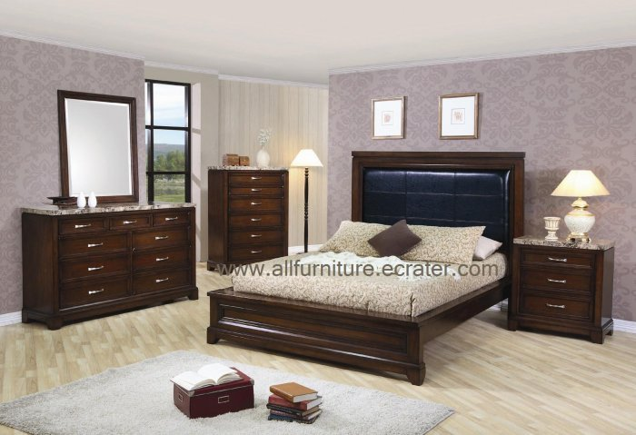 marble top queen 5pc bedroom set from andrea collection by coaster