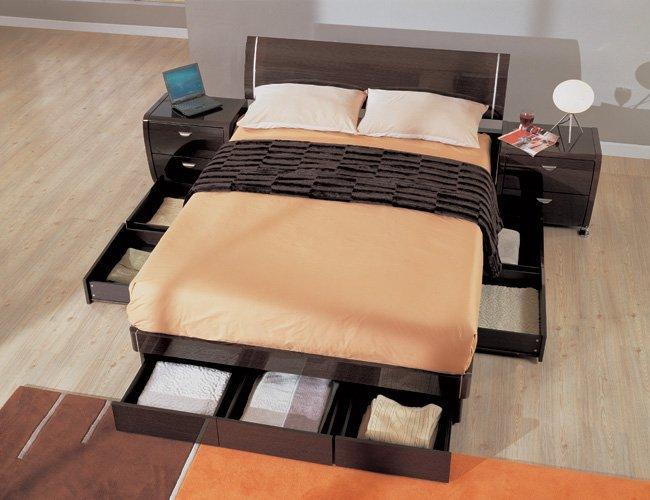 Symphony king size modern platform bed with storage - Platform bed with storage underneath ...