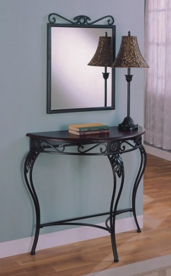 Foyer Mirror And Table Set : Mirror with foyer table and lamp set wood metal