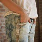 Custom Made Vintage Studded Washed Jeans