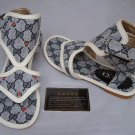 100%Gucci Authentic  Gladiator Ankle Bootie Sandals - Grey/White Trim - Size 9