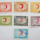 Vintage Turkish Red Crescent Donation Stamps 7 in different color and denomination collectible