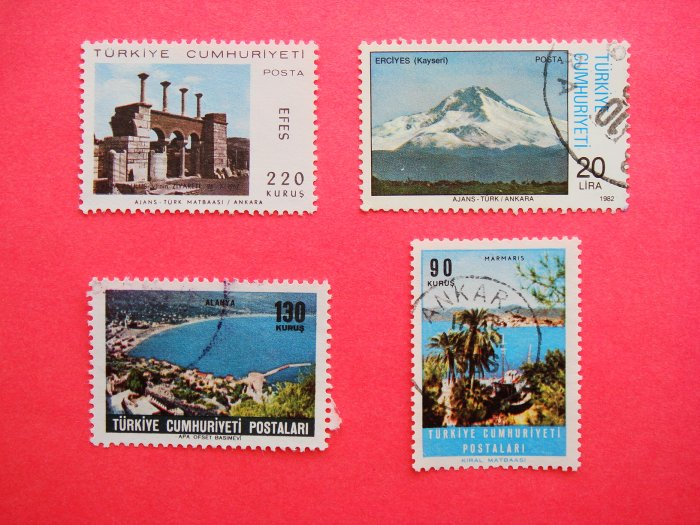 Vintage Turkish Postage Stamps 4 different cities depicted collectible Stamped