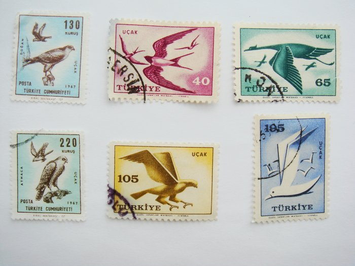 Vintage Turkish Postage Stamps 6 different bird images collectible Stamped