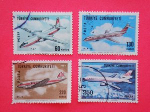 Turkish Postage Stamps 4 airplane in the air subject depicted collectible vintage Stamped