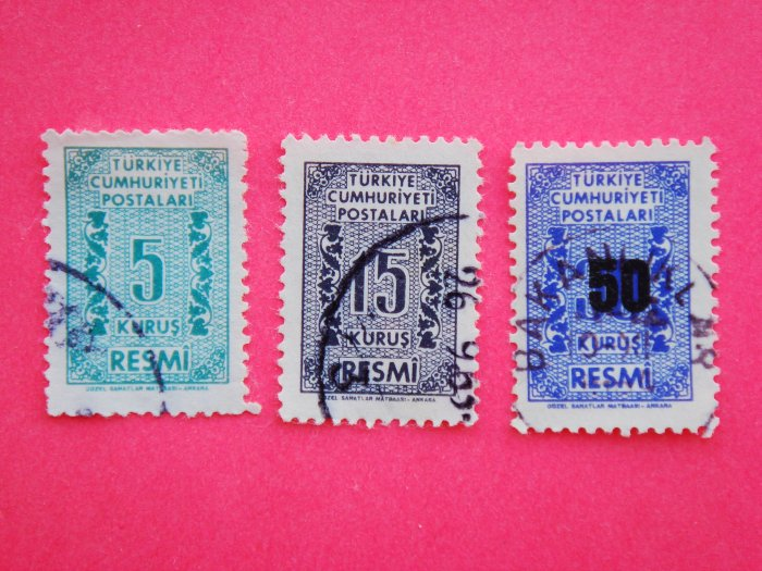 Turkish Government Official Stamps 3 in different colors and value collectible vintage