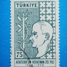 Turkish Postage Stamp printed in rememberance of 20th aniversary of Ataturk's death