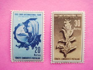 Turkish Postage Stamps 2 Commemorating the 1950 Izmir International Fair