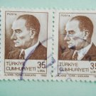 2 Postage Stamps with the first Turkish President Mustafa Kemal Ataturk on it in brown