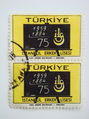 2 Turkish Postage Stamps Commemorating 75th Anniversary of Istanbul Boys' Highschool