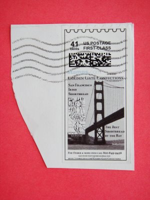 Partial Envelope with a United States customized postage stamp with commercial