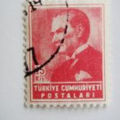 15 kurus Turkish Postage Stamp in pink with Mustafa Kemal Ataturk on it