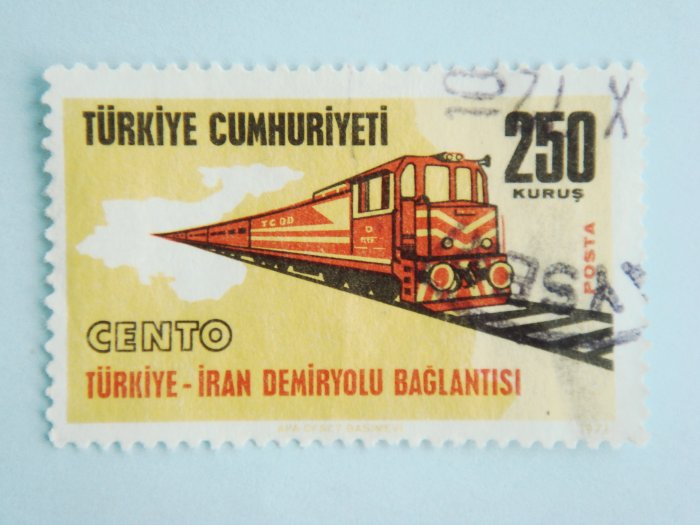 250 kurus Turkish Postage Stamp with Turkey-Iran Railroad Line as subject