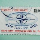 200000 Lira Turkish Postage Stamp celebrating the 50th anniversary of  NATO