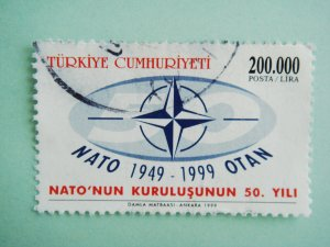 200000 Lira Turkish Postage Stamp celebrating the 50th anniversary of  NATO