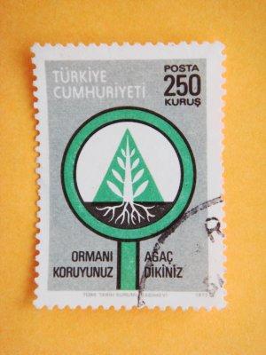 250 kurus Turkish Postage Stamp about Forest Preservation and Reforestation