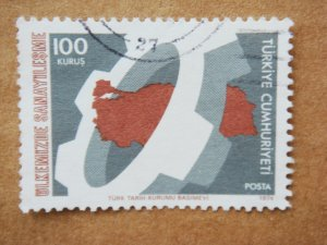 100 kurus Turkish Postage Stamp about Industrialization in Turkey