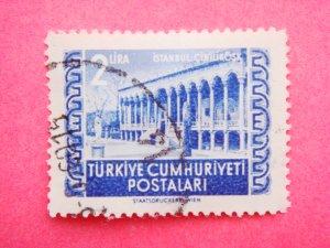 Turkish Postage Stamp depicting Cinilikosk Tiled Kiosk in Topkapi Palace in blue