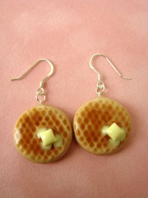Buttermilk Waffle Earrings