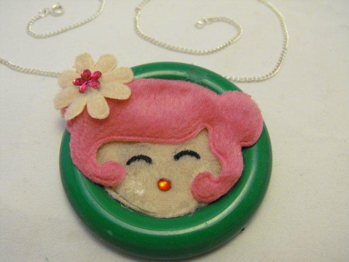 Cute Girl Button Pendant Necklace