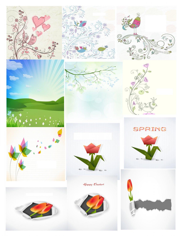 Spring Set Background 4-T-Shirt-Digital Clipart-Website-Flower-Gift Tag