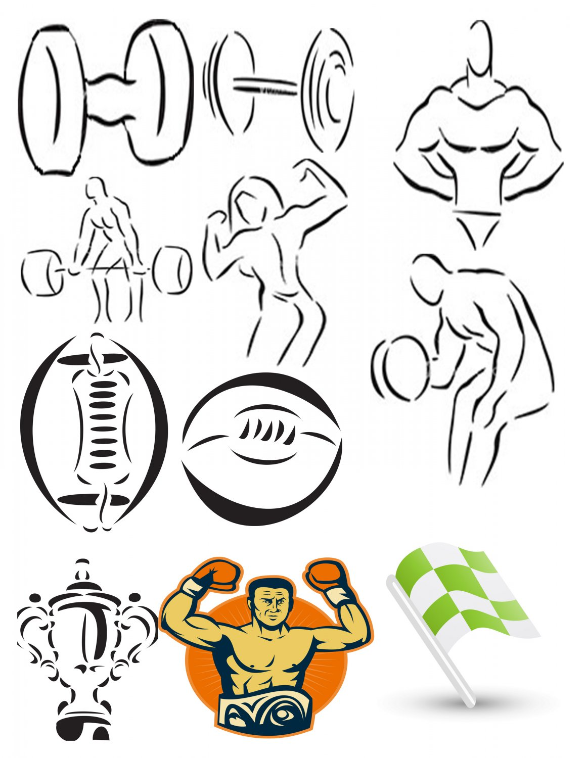 Sports Set5-T-Shirt-Digital Clipart-Website-Gift Tag-Gift Cards-Clipart