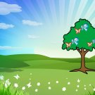 Spring Background-Digital Immediate Download-ClipArt-ArtClip-Tree-Butterfly