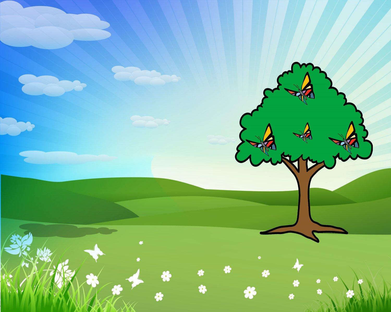 Spring Background-Digital Immediate Download-ClipArt-ArtClip-Tree