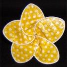 Yellow w/ white polka dots
