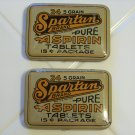 2 Spartan aspirin tablet tins great advertisements